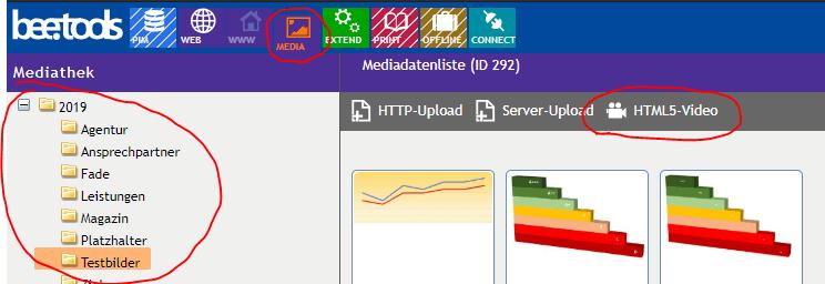 bee.tools Mediathek Upload - Schritt 1